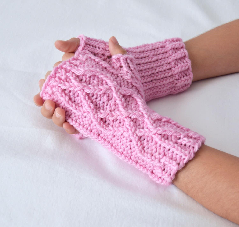 Children\'s Fingerless Mitten Knitting Pattern, Cable Knit Fingerless ...