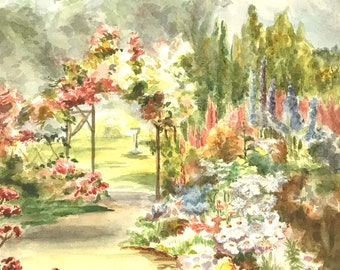 Vintage Watercolour Painting, Hand Painted, Small Painting, English Garden, Colorful Flowers, Garden Walk, Secret Garden, Calming View, Chic