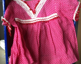 Vintage Red and white dot doll dress