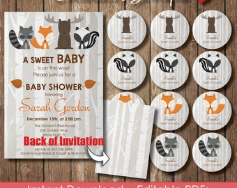 Woodland Baby Shower Invitation 5x7 Instant Download Rustic Fox Editable Invite Tags Moose Baby Shower Use as Invitation Thank You Card 040