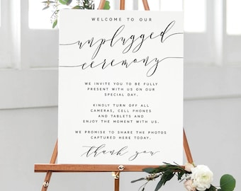 Unplugged Wedding Sign, Printable, Unplugged Ceremony, Calligraphy, Simple