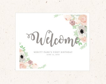 Welcome SIgn, Botanical Garden Collection, 16x20 Korean 1st birthday, Dohl, Dol, Doljabi