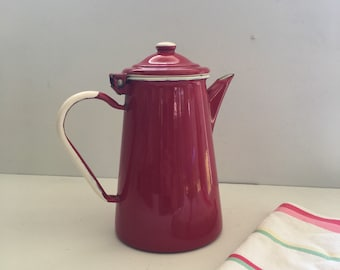 Red Enamel Ware Coffee Pot, Emalia Olkusz 1907, Vintage Enamelware, Red and White Tea Pot