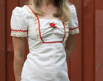 Vintage 70's Dress / Muslin Lace Maxi / Puff Sleeve Ruffle Empire Waist XS