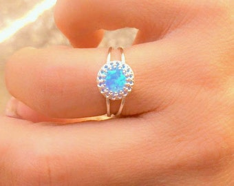 Blue Opal ring - Turqiouse opal ring - Vintage opal ring - Opal Silver ring - Opal gold filled ring - Opal jewelry