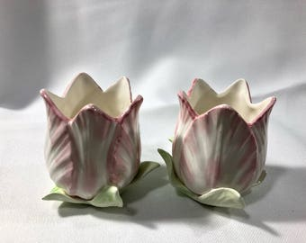 Fitz and Floyd Tulip Candlestick Holders Spring Pink Green Flower Buds