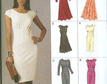Vogue Pattern V8685 Women's Fitted Bodice Dresses NEW Size AA 6-12