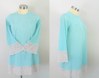 Blue Nylon Lace 1960s Mini Nightgown Lingerie Loungewear