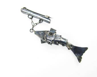 """An Amazing Small 1 1/4"""" Articulated Fish - Tin Pieces That Move - Jewelry From the 50s - A Fish on a Tiny Bar Pin - Oxidized Metal Fish"""