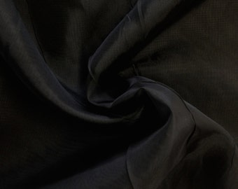 "Black Sheer Voile Fabric 118"" Wide Curtain Drapery and Apparel per yard 100% polyester"