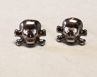 Sterling Skull Post Earrings Gothic Punk Trendy Style Sterling Studs