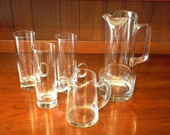 Irish Coffee Set, Vintage Hand Blown Glass Cream Pitcher, Coffee Pitcher, & 3 extra tall narrow Lenox Irish Coffee Glasses