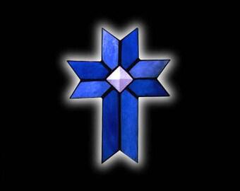 Stained Glass Christian Cross Suncatcher
