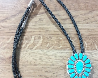 Native American Navajo handmade sterling silver and turquoise bolo tie