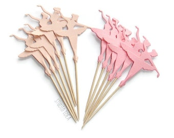 Mixed Pink Tall Ballerina Cupcake Toppers, Food Picks