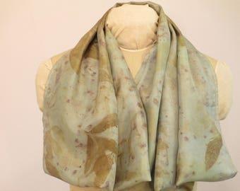 "EcoFashion Infinity Scarf - Botanical Print Natural Dye - Silk - Peony Sumac Indigo - HAI21121727 - 21""x76"" (53 x 193 cm)"