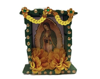 Virgin Guadalupe, Mexican Nicho, Mexican Shrine, Ofrenda Decoration, Guadalupe Picture, Guadalupe Nicho, Catholic Kitsch, Mexican Folk Art
