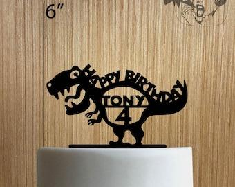 Custom Dinosaur Happy Birthday 225-004 Cake Topper