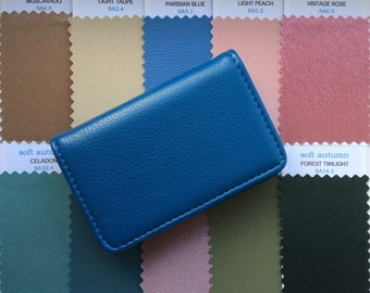 Soft Autumn Fabric Colour Swatches in Faux Leather Case