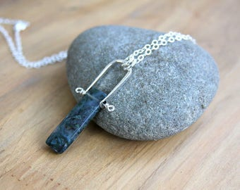 Jasper necklace, rustic pendant, sterling silver, metalwork jewelry, blue stone necklace, hand forged jewelry, everyday jewelry