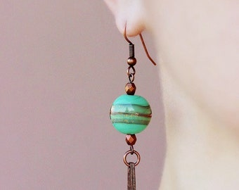 Dangle Copper Earrings Green Brown Earrings Hammered Antiqued Copper Drop Earrings Glass Earrings Boho Copper Earrings Modern Unique Earring