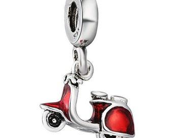 Moped Charm Dangle Charm European Bead Large Hole Bead Enamel Charm Moped Pendant Big Hole Bead Moped Dangle