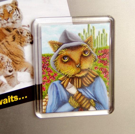 Scarecrow Cat, Wizard of Oz, Emerald City, Yellow Brick Road, Cat Fridge Magnet