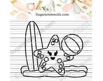 Starfish Summer PYO cookie Stencil Paint your own ST00405