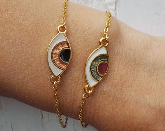 Evil eye bracelet. Dainty evil eye bracelet. Greek evil eye charm bracelet. Gold chain evil eye bracelet. Stacking bracelet.