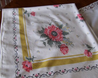 Vintage Linen Tablecloth, Cutter, Craft or Table Use, 1950's in Pink, Gold and Silver, Poppy Design, Cottage Style, Fair Condition, 53 x 44