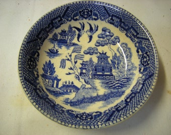 vintage berries  bowl-cereal bowl-Occupied Japan-blue willow-kitchen and dining-collection-display-cottage chic-