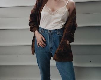 Vintage 90's Oversized Knit Cardigan Sweater Size Medium