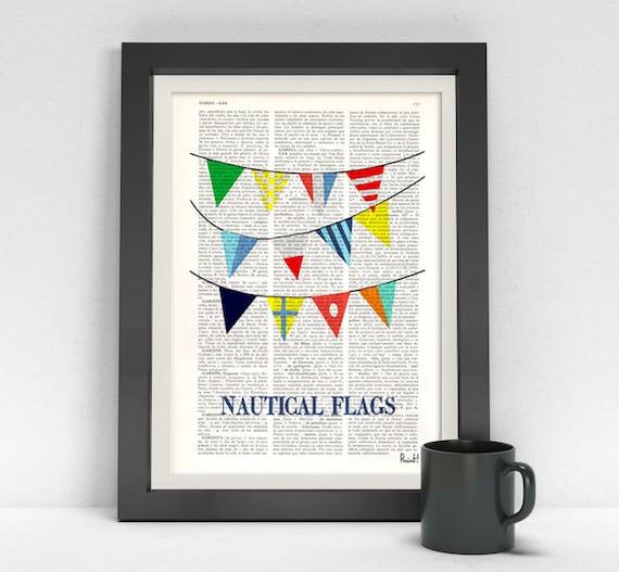 Nautical Flags print on  Dictionary Page Original collage Nautical flags Print, art print, beach house decor, nautical SEA050
