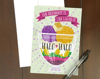 Halo-Halo Besties Greeting Card | Filipino Dessert | Food Art | Philippines