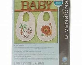 Stamped Cross Stitch Kit -  Dimensions Kimba Baby Bibs