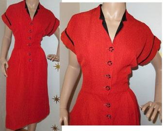 SALE! Vintage 1950s red black rhinestone button dolman wiggle dress w/ pockets medium 230