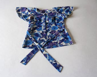 70's Purple Blue White blouse Polyester ala ABBA