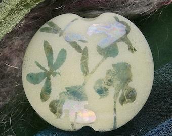 "Handmade Lampwork Focal Bead ""Dragonflies & Irises"" SRA Sandblasted Glass ~ Iridescent Lustre Picture Bead ~ Cool Neutrals"