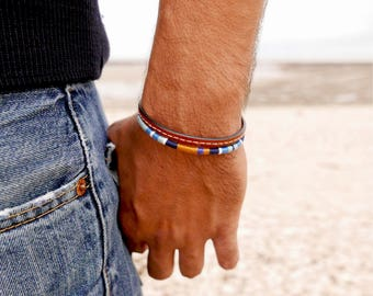 Men bracelet Hipster, Gift for him, Cuff Bracelet, Leather bracelet, Cotton, Boyfriend gift, Boho bracelet, Mens jewelry, Valentine gift