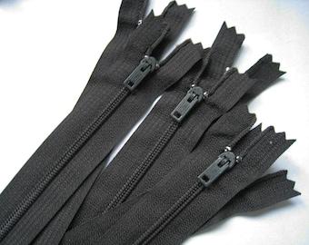 6 Inch Black Venus Zippers - Set of 24 pcs
