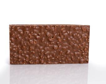 Crispy rice dark chocolate tablet, pufed rice milk chocolate tablet, crispy rice milk chocolate bar, puffed rice dark chocolate bar
