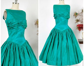 Vintage 1950s Dress - Green Sharkskin Taffeta 50s Party Dress with Ruched Bust and Dropped Basque Waist