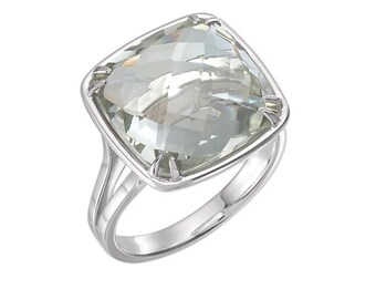 STUNNING 8ct Cushion Cut Green Amethyst Ring Sterling Silver Size 4 5 6 7 8 9 10 11 12 13 Prasiolite Ring Trending Jewelry Gift Mom Wife