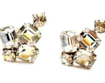 Rhinestone clip on earrings  Clear crystal  Wedding Bride  Prom Bling