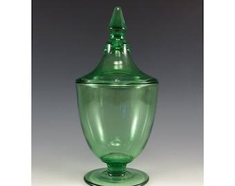 Vintage Green Glass Lidded Jar