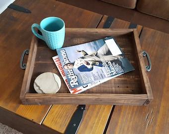 Serving tray, wood serving tray,  farmhouse tray, reclaimed wooden tray, ottoman tray