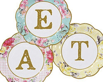 Pastel Floral Small Paper Plates - Vintage Tea Party - Birthday Party Paper Plates - Tea Party Tableware - Mad Hatter Tea Party - Cake Plate