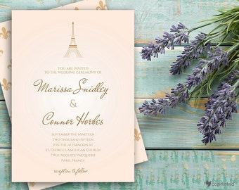Tale From Paris Wedding Invitation - vintage, classic, formal, destination, decorative, elegant, classy, Paris, Eiffel, travelling, template