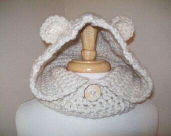 Crochet Animal Cowl/Baily Bear Cowl/Warm Bear Cowl