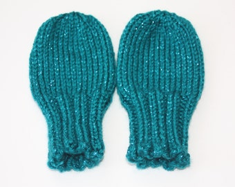 Teal Sparkle Baby Mittens for 18-24 Months - Teal Thumbless Mittens - Aqua Scratch Mittens - Turquoise Knit Baby Mittens